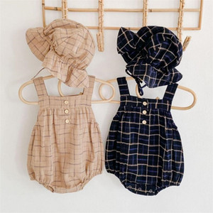 Infant Baby Girls Boys Bodysuits Plaid Print Sleeveless Autumn Casual Toddler Jumpsuits With Hat Kids Overalls Outfits 201216