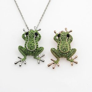 Grenouille rose or couleur vert cristal pierre charme déclaration déclaration colliers pendentifs pendentifs bijoux animaux pour femmes mode boho collier