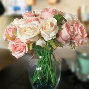 1 Bouquet DIY Artificial Flowers Rose Flower Bouquet Silk Rose Flower Wedding Favors For Home Garden Wedding Party Decoration