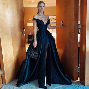 Sexy Black Front Split Prom Dresses Off The Shoulder V Neck Evening Gowns Sweep Train Satin Formal Dress