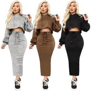 Color sólido para mujer Dos piezas Vestidos de manga larga camisetas T Shirts Slim Sexy Faldas Casual Moda Mujeres 2pcs Conjuntos