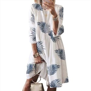 Plus Size Dress Women 2020 Loose butterfly Leaf Printed Vintage Dress Summer Women Clothing Casual Dresses