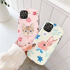 Flower Rabbit Cat Cute Gentle Lambskin PU Material Mobile Phone Case Cover for iphone 12 mini 11 Pro Max 7 8 Plus X XR XS Max