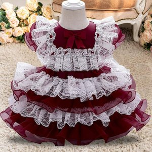 PLBBFZ FLOWER Dress Girls 1er Fiesta de cumpleaños Cordón de boda Tutu Vestido de niña Bebé niña Princesa Vestido Disfraz de Navidad Infantil