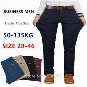 Calças Homens de Negócios Hetero Cotton calças stretch Homem-Borracha Slim Fit Casual Big Plus Size 42 44 46 Khaki Preto Azul Red Pant