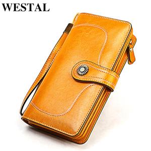 WESTAL women's wallet genuine leather luxury wallet wristlet female clutch wallets designer purse phone money bag portomonee 853
