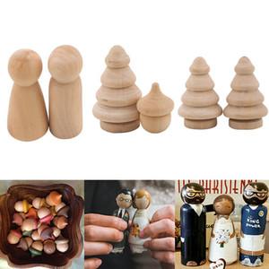 10 قطع دمية خشبية ربط الدمى الأسرة زوجين diy الحرف غير مكتملة لعب الأطفال رسمت خربش الحلي اللون الطبيعي