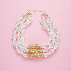 June Multilayered Beads Chain Romantic Choker Necklace Simulated Pearl Necklace 201211