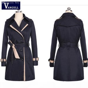 Wholesale-VANGULL Trench Coat For Women 2016 Fashion Turn-down Collar Double Breasted Contrast Color Long Coats Plus Size Casaco Feminino