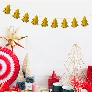 Christmas Paper String Pull Hanging Flags Christmas Tree Shape Flags For Home Xmas Party Decoration Supplies