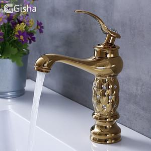 Gisha Banyo Havzası Musluklar Klasik Pirinç Elmas Musluk Tek Kolu Sıcak Ve Soğuk Tap Altın Kristal Mikser Lavabo Musluk T200710