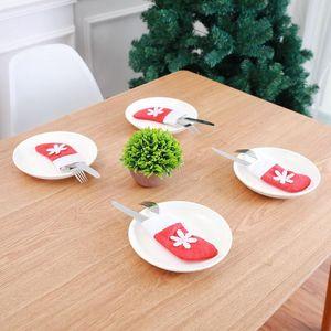 Weihnachtstisch Dekorationen Santa Claus Geschirr Besteck Socken Anzug Hängende Verzierung Weihnachtsfeier Knite und Gabel Dekor PPF223