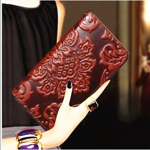 Ladies Vintage Floral Print Zipper Purse Wrist Strap Long Hand Bag Embossed Personality Large-capacity Leather Wallets Q1119