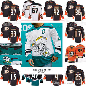 Anaheim Ducks 2021 Обратный ретро Джерси 67 Rickard Rakell Ryan Getzlaf Kesler Jakob Silfverberg Adam Henrique Cam Fowler Джон Линхольм