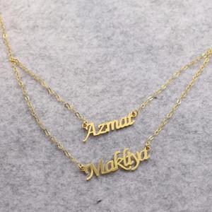 Golden Plated Custom Two Nameplates Bracelet Women Personalized Couple Name Pendants Bracelet Valentine's ift