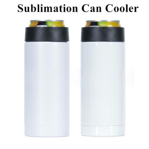 12oz Sublimation Can Cooler 335ml DIY Heat Transfer Slim Straight Cup Can Insulator Stainless Steel Double Wall Beverage Cold Keeper BWF2365