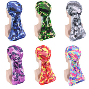 30PCS LOT Camouflage Printed Long Tail Pirate Hat Silky Satin Durags Bandana Men's Silky Durags Turban Hat