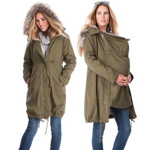 Women Jackets Spring Autumn Hooded Jacket Fur Collar Maternity Coat Pregnant Woman Baby Carrier Kangaroo Outfit Keep Warm Clothe