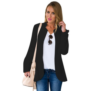 Work Office Long Sleeve Stand Neck Female Jacket Slim Plus Size Women Basic Coats 2020 Autumn Elegant Suit Black Tops Clothes