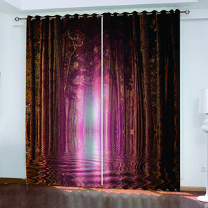 Customized size Luxury Blackout 3D Window Curtains red forest curtains Thick shading soundproof windproof curtain