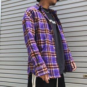 Camisa púrpura / verde / azul a cuadros para hombres Mujeres Streetwear de moda Tartán suelto Camisas de manga larga Hombres Hip Hop Top Ropa