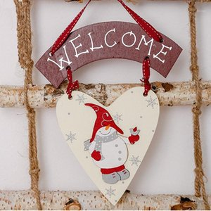 Navidad 2020 Wooden Love Snowman Hanging Pendant Christmas Tree Decorations for Home Garland New Year 2021 Noel Crafts Ornament1