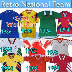 Jerseys de football rétro ITALIE 1986 Columbia Bolivie Roumanie Accueil 1994 Bulgarie Away Danemark 92 98 Équipe nationale Vintage Classic Football Shirts