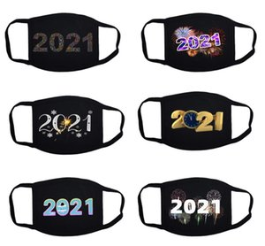 Christmas Printed Face Mask Dustproof Breathable Mask Black 2021 Pattern Designs Mouth Cover Washable Happy New Year Reusable Masks DHC4309