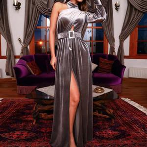 Velvet Prom Dress A Line One Shoulder Long Sleeves High Neck Side Split Split Evening Party Gowns Middle East Robes De Soirée