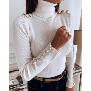 Women Sweater Fahion Turtle Neck Button Applique Sweaters Casual Natural Color Long Sleeve Sweaters Women Designer Clothes