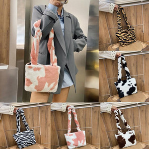 Winter Fashion Shoulder Bag Female Leopard Cow Print Female Bag Small Plush Handbag Messenger Soft Warm Fur Bolsa Sac