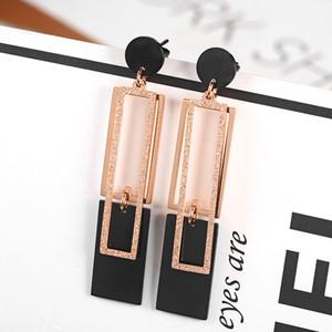 New 18K Rose Gold Small Fresh Temperament Long Earrings Women Fashion Earrings Accessories