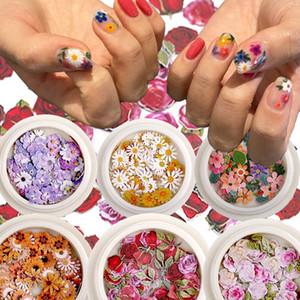 Color arte color mezclado flor de madera pieza de pulpa pequeña margarita rosa fresco pastoral uñas flor seco parche DIY Nail Art Decoration