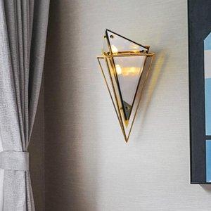 Lampada da parete geometrica Postmodern Led Corridoio corridoio corridoio Design creativo Nordic Wall Light Bedroom Bedroom Bedside Villa Diamond Glass Lam