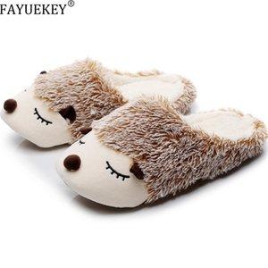 FAYUEKEY Autumn Winter Cartoon Animals Home Cotton Plush Warm Slippers Women Indoor Floor Flat Shoes Girls Christmas Gift 201209