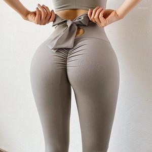 Chrleisure Bowknot Leggings для женщин поднять бедра высокой талии йоги брюки бесшовные тренажерный зал Фитнес спортивная одежда Scrunch Buworkout Sports1