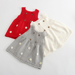 Baby Girl Winter Knit Dress Princess Kid Cute New Sleeveless Dress Autumn Long Waistcoat Vest With Flower Button