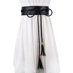 yellow black Ladies tassel Slim Leather girdle cummerbund female wide belt decorative forT-shirt wedding dress