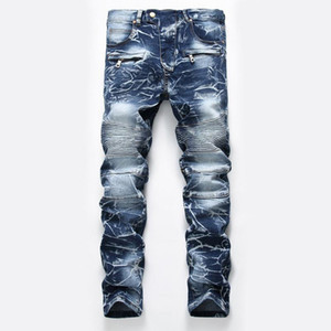 2020 New Mens Coated Jeans Distressed Slim Elastic Denim Biker Jeans ropa hombre Hip hop Washed Straight Denim Pants
