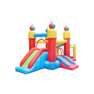 Homeuse Kids Inflatable Moonwalk Bounce House Jumper Garden Supplie Bouncer Jump Bouncy Castles With Slide And Ball Pool Basketball Hoop w  Air Blower