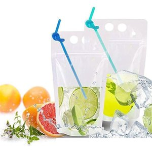 fedex 17oz Clear Drink Pouches Bags frosted Zipper Stand-up Plastic Drinking Bag with straw with holder Reclosable