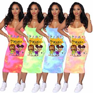 women designer dresses fashion tie-dyed cartoon suspender skirt designer t shirts dresses ladies casual dresses summer clothesS-3XL