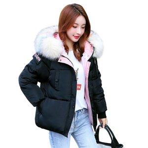 Chic Short Fur Coat Hooded Winter Down Coat Female Oversize Jacket Cotton Padded Wadded Parkas Wind Breaker Sleeves Big Pocket 201212