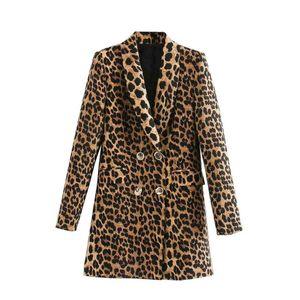 female fashion double breasted leopard blazer long sleeve jacket female pattern outerwear chic tops