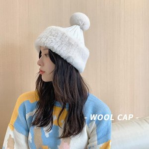 Women's Winter Hats Kitted Ball Thick Beains Caps Hip Hop Cap Gorros Female Pom Pom Hats for Femme Solid Color Hat