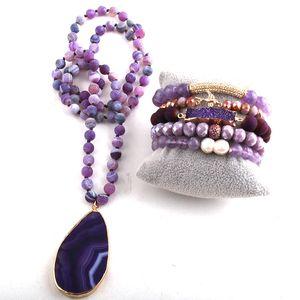 RH Fashion Jewelry Set Semi Precious Beaded Stone Pendant Necklace and Bracelet sets For Women Jewelry 201123