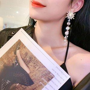 Hohe Qualität Kristall Schneeflocke Strass Perlen Quaste Weibliche Lange Ohrringe Baumeln Faden Perlen Ohrring Diamant Frauen Partei Schmucksachen