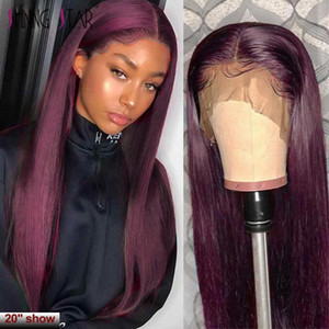 Straight Burgundy Lace Front Wig 99J Colored 13*1 Lace Front Human Hair Wig Peruvian Remy Lace Part 150 Pre Plucked