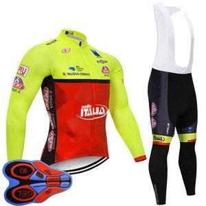 이탈리아 팀 남성 봄 /자가 순환 저지 긴 소매 9D 젤 패드 턱받이 바지 세트 MTB 자전거 의류 자전거 의상 야외 Sportwear S122812