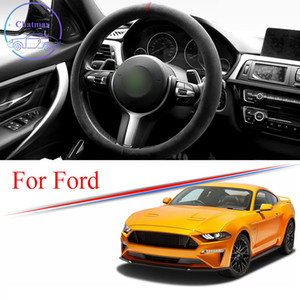 Alcantara Car Steering Wheel Cover Suede Trim Strip for FORD FOCUS MONDEO MUSTANG F-150 FIESTA Universal 38cm 15 Inches Interior Accessories
